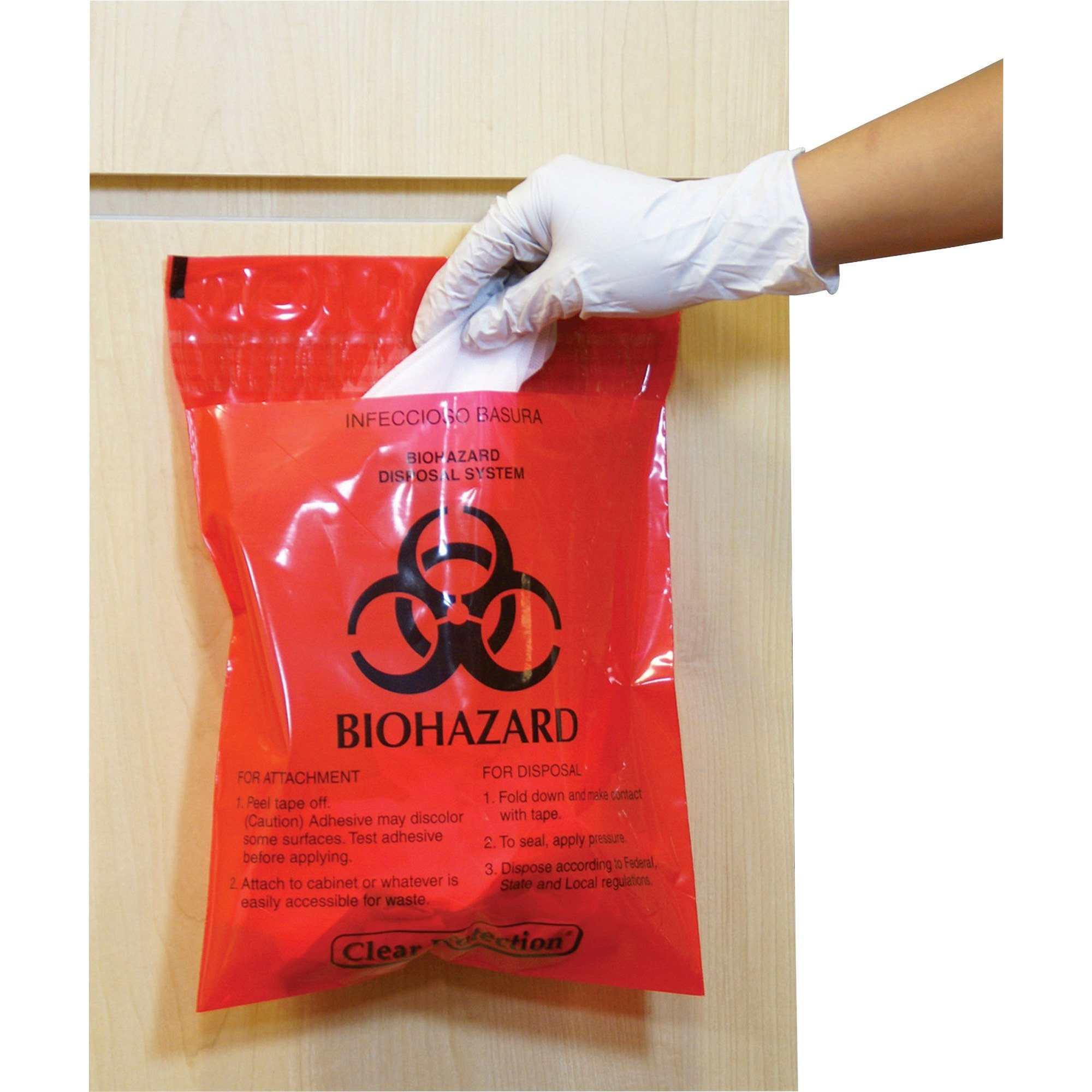 Caretek Resources CTRB042214 Biohazard Waste Bag Peel/Stick 2.6 Qt 12''x14'' 100/BX RD