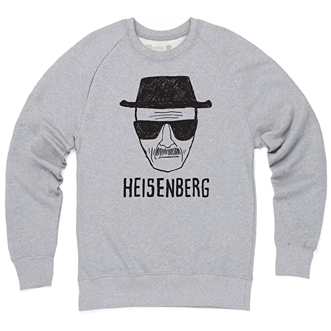 Official Breaking Bad - Heisenberg Sketch Light Sudadera de cuello redondo, Para hombre, Gris jaspeado, L: Amazon.es: Ropa y accesorios
