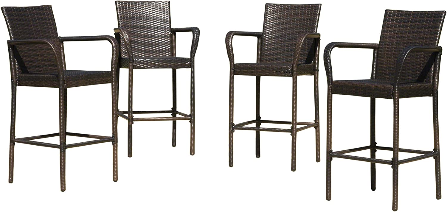 Stewart Outdoor Wicker Barstool Set of 4 in Brown