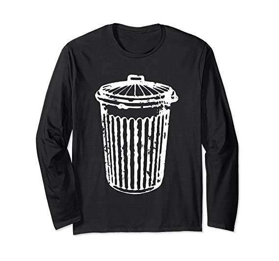 96799900 Unisex Fun TRASH CAN T-Shirt Garbage Day Long Sleeve Shirt Small Black