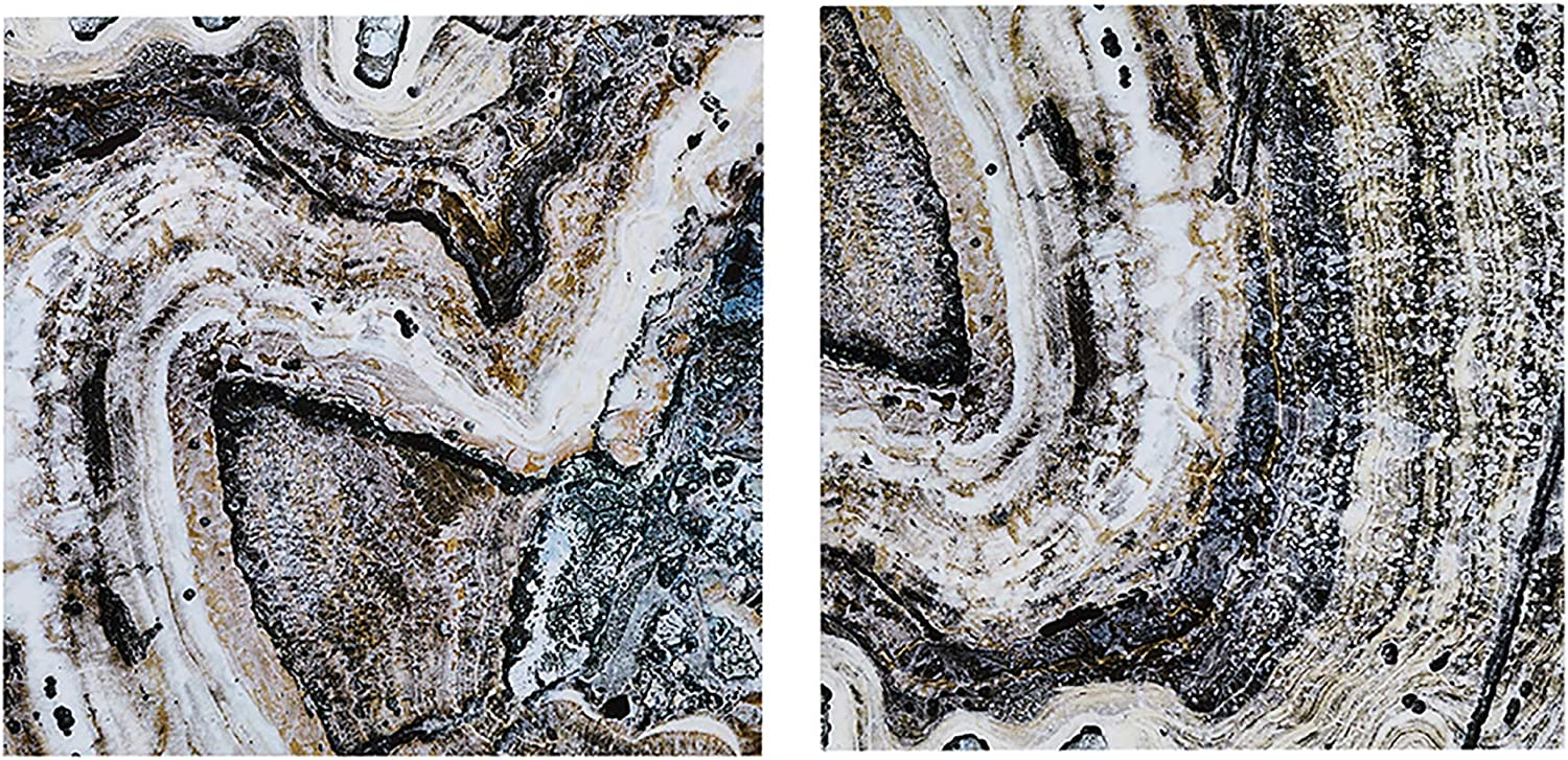 Ink+Ivy, Cool Stone - Wall Art - 2 Piece Set Glass Coated CanvasEasy Hang Setup, Modern Contemporary Design, Agate Rocks Layers Geo Painting Living Room Décor, Natural Multi, 20 x 20 x 1.5
