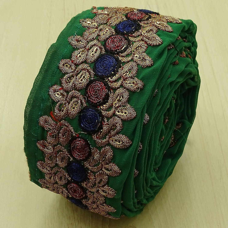 Vintage Indian Green Sari Antique Border Embroidered Ribbon Sewing Trim 1Yd