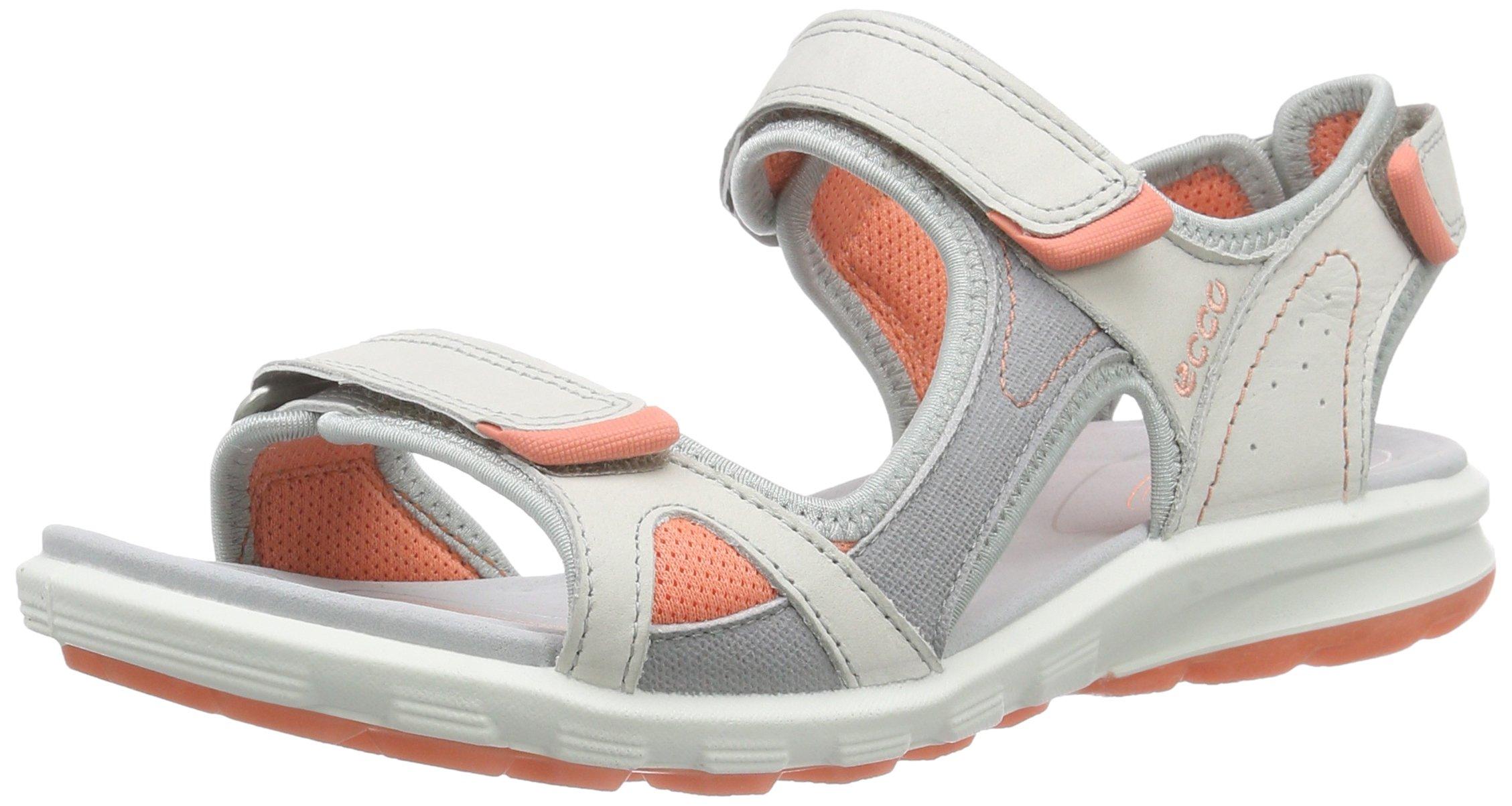ECCO Women's Women's Cruise Sport Athletic Sandal, Shadow White/Silver Grey/Coral, 40 EU/9-9.5 M US