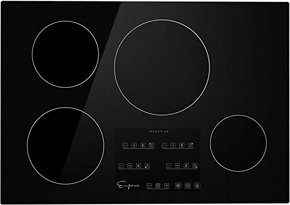 Black Empava IDCX30 30 Inch Electric Induction Cooktop Smooth Surface with 4 Burners 240V