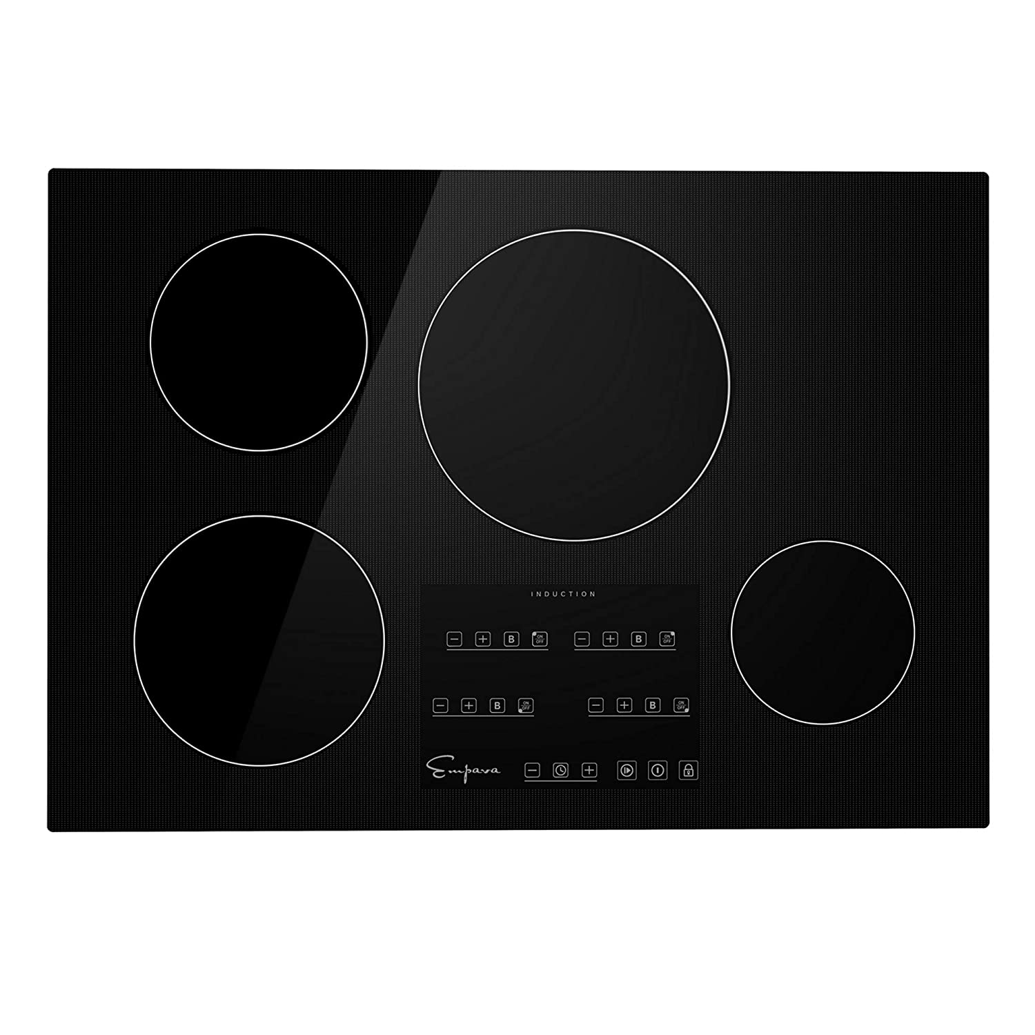 Empava IDCX30 30 Inch Electric Induction Cooktop Smooth Surface with 4 Burners 240V, Black