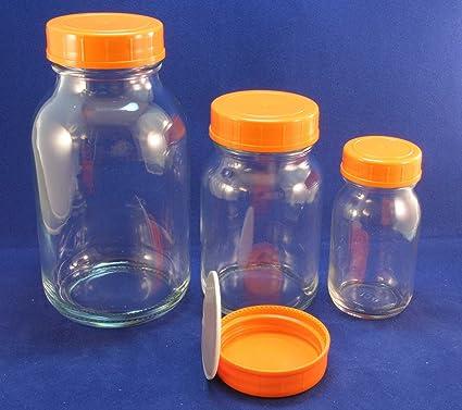 250 ml 5 frascos de rosca botellas transparente con tapa de rosca