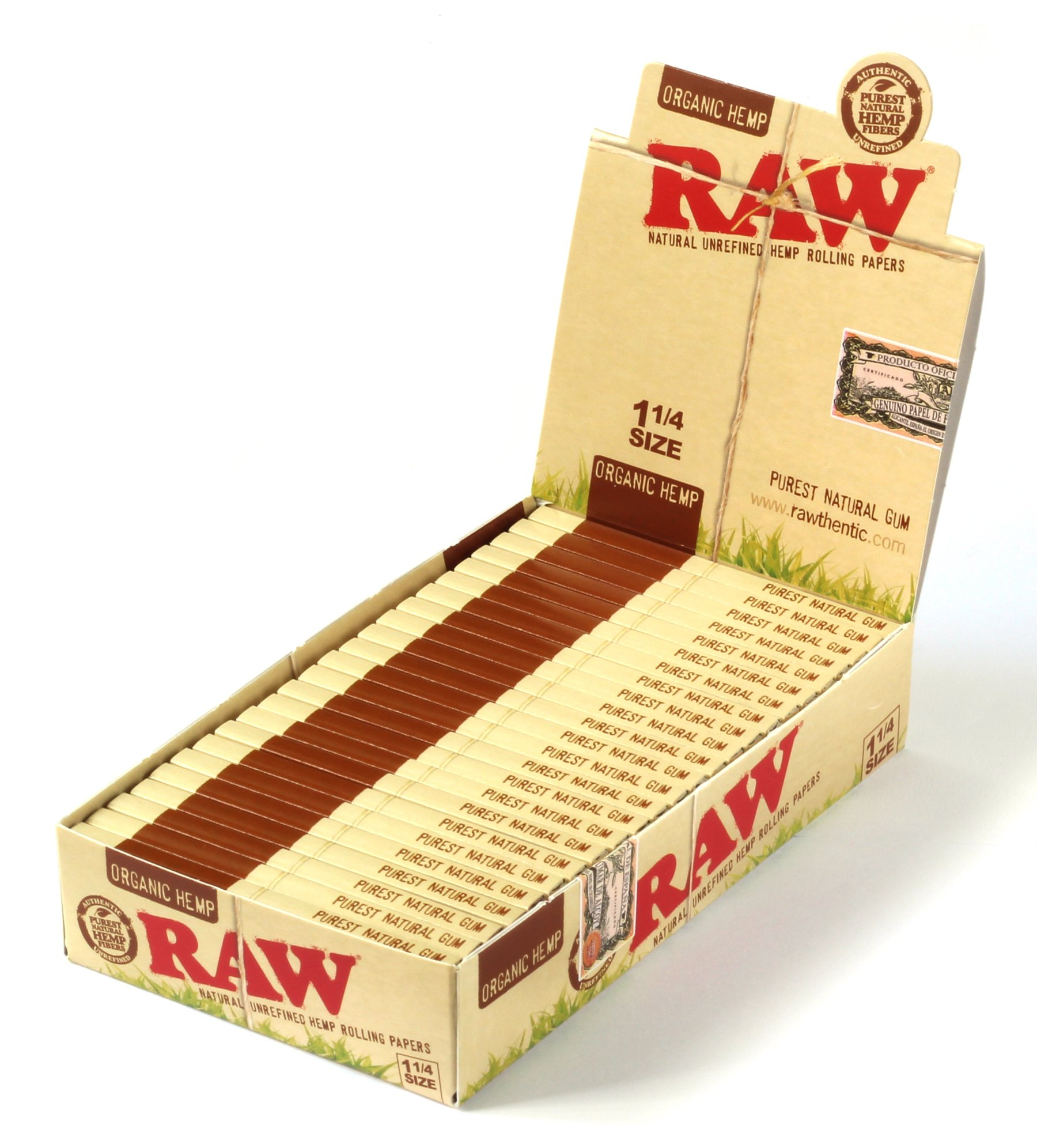 Raw Unrefined Organic 1.25 1 1/4 Size Cigarette Rolling Papers Full Box of 24 Packs