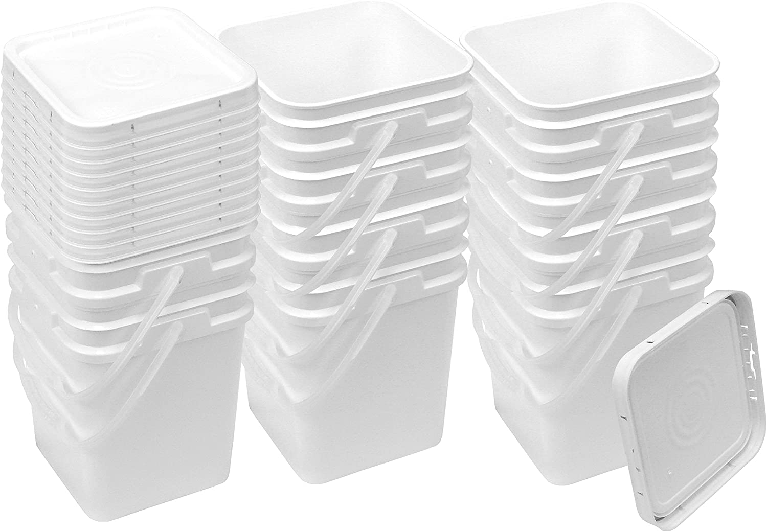 Square Bucket Kit, Ten 4-Gallon Buckets and ten White Snap-on Lids with gaskets