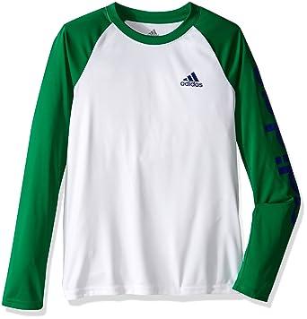 40336a23e adidas Big Boys' Climalite Long Sleeve Tee, White/Green, Small/8