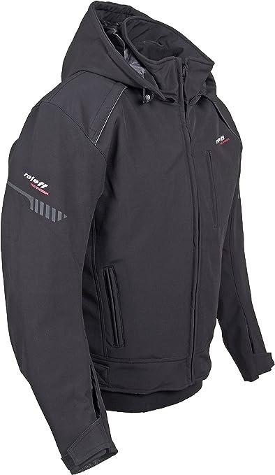 color negro tama/ño 3/x l Roleff Racewear Softshell Moto Chaqueta con capucha