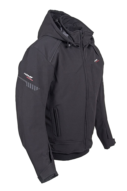 Schwarze Motorradjacke mit Protektoren Bel/üftungssystem RO 1513 kurze Softshell Hoodie Jacke Klimamembrane und herausnehmbarem Thermofutter