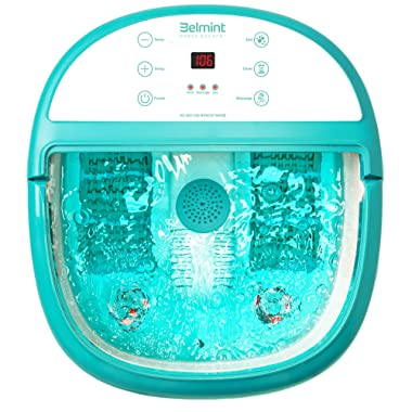 Belmint Foot Spa Bath Massager with Heat - Foot Massager Machine Feet Soaking Tub | Features Vibration, Spa, Roller, Massage Mode | 6 Pressure Node Rollers Stress Relieve for Fatigue & Tired Feet