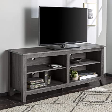 Amazon Com Walker Edison Wren Classic 4 Cubby Tv Stand For Tvs Up To 65 Inches 58 Inch Charcoal Grey Furniture Decor