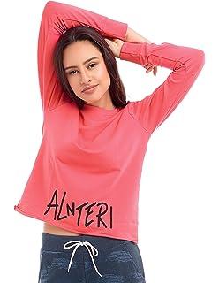 183324950 ZEYO Women Cotton Olive Green & Queen Pink Crop Top Full Sleeve Round Neck  Solid PlainTees