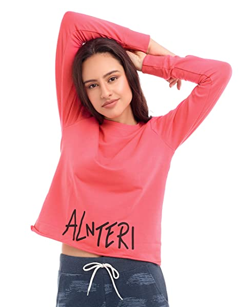 3bb9950c09 ZEYO Women Cotton Olive Green   Queen Pink Crop Top Full Sleeve Round Neck  Solid PlainTees  Amazon.in  Clothing   Accessories