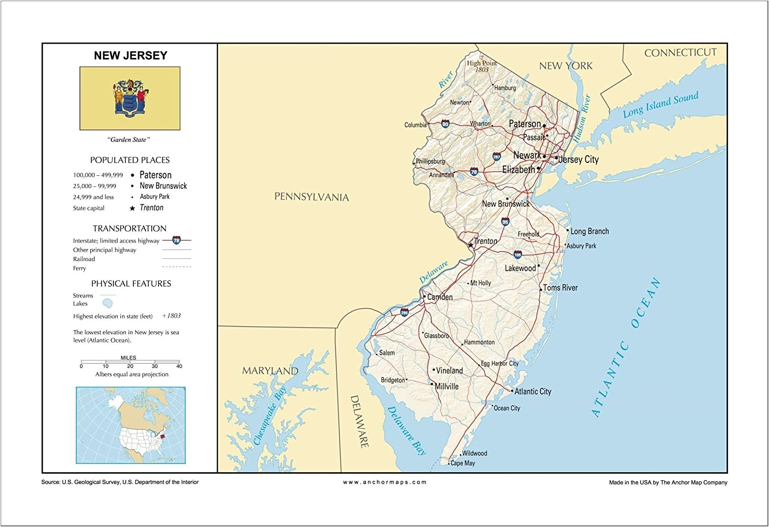 Amazon.com : 13x19 New Jersey General Reference Wall Map ... on east coast map, north dakota map, mississippi map, monmouth county map, delaware map, connecticut map, new hampshire map, georgia map, northeast map, pennsylvania map, indiana map, texas map, new york map, minnesota map, louisiana map, rhode island map, michigan map, north carolina map, iowa map, kansas map, ohio map, massachusetts map, missouri map, new england map, california map, oklahoma map, nebraska map, south carolina map, maryland map, nevada map, usa map, florida map, wisconsin map, illinois map, maine map,