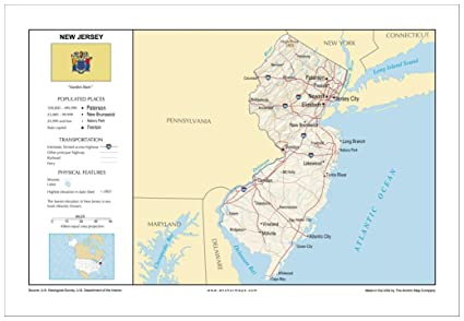 New Jersey On Map Of Usa.Amazon Com 13x19 New Jersey General Reference Wall Map Anchor