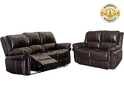 windaze Recliner Sofa Set 2 Pcs Bonded Leather Sofa Love Seat with 3 Seats  Sofa for Living Room Brown, 5 Seats