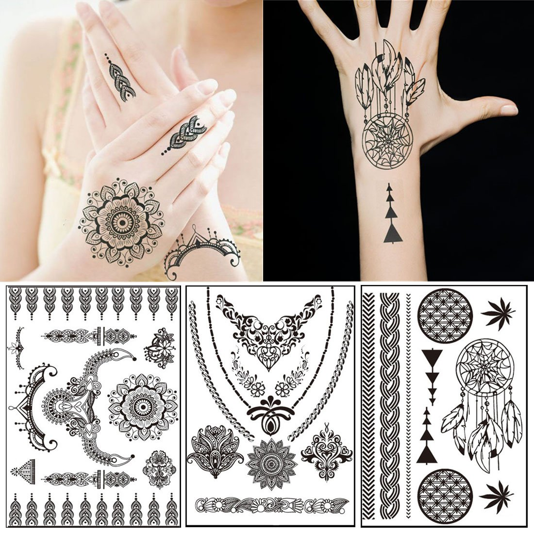 a0d7e9dbd 10 Sheets Black Henna Lace Tattoos Temporary - Over 60+ Henna Designs,  Black Lace Style Body Art Stickers(5.9'' x 8.3''): Amazon.ca: Beauty