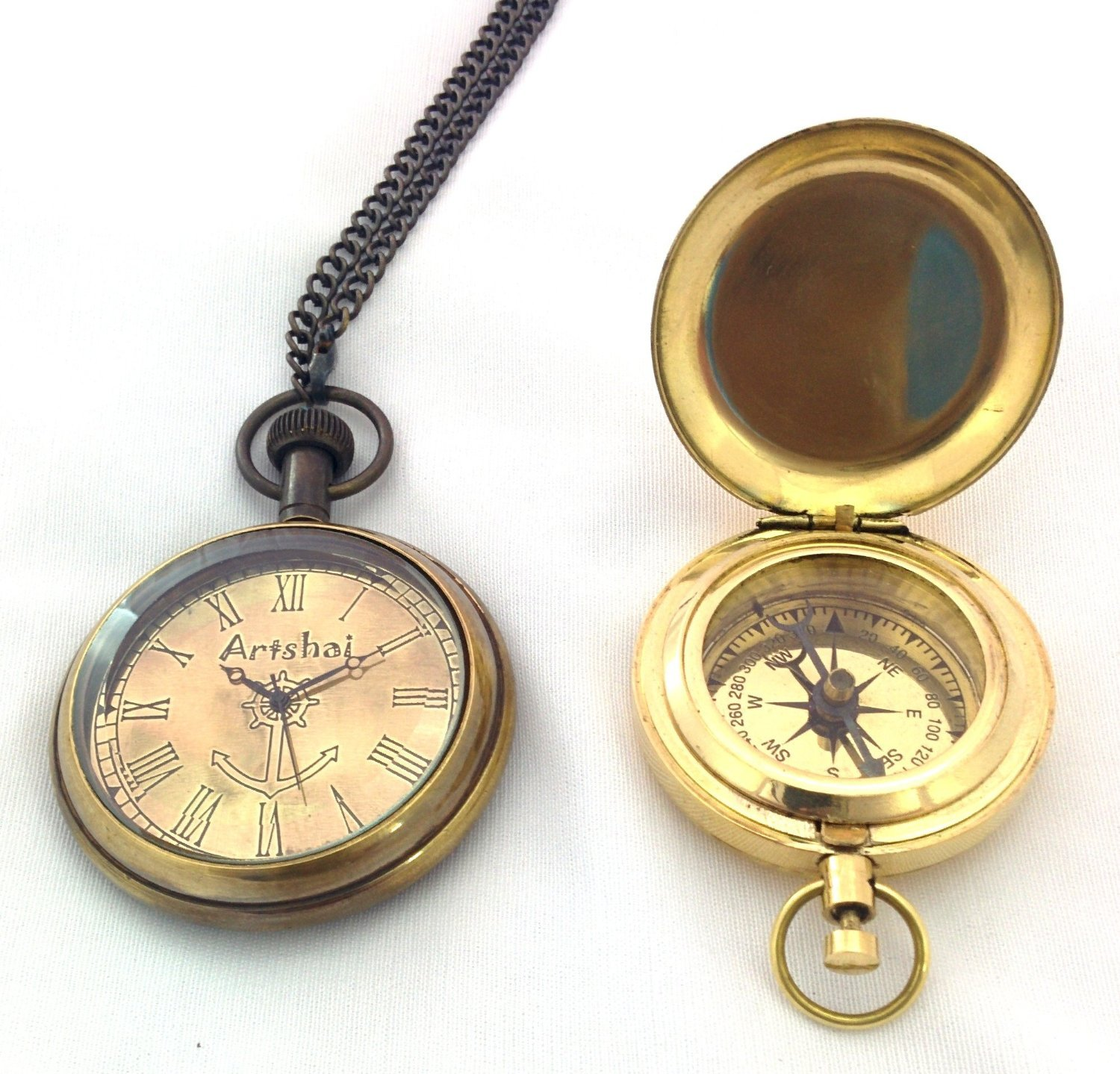 Pocket Watch and Push button Magnetic Compass Combo