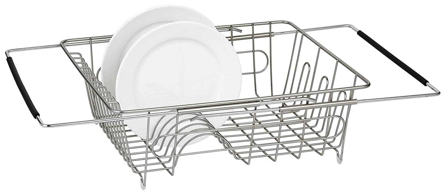FurnitureXtra Stainless Steel Dish Drainer with Drip Tray and Cutlery Holder (2 Tier Green)