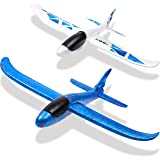 WATINC 2Pcs 20in Airplane, Manual Throwing, Fun, challenging, Outdoor Sports Toy, Model Foam Airplane, Blue & White Airplane (WT-Foam Airplane 2Pcs)