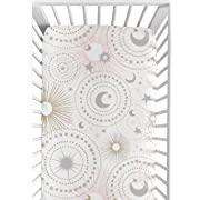 Sweet Jojo Designs Blush Pink, Gold, Grey and White Star and Moon Baby or Toddler Fitted Crib Sheet for Celestial Collection by