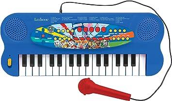 LEXIBOOK- Paw Patrol Teclado electrónico, Piano de 32 Teclas, Micrófono para Cantar, 22 Canciones de demostración, operado con batería, Azul/Rojo