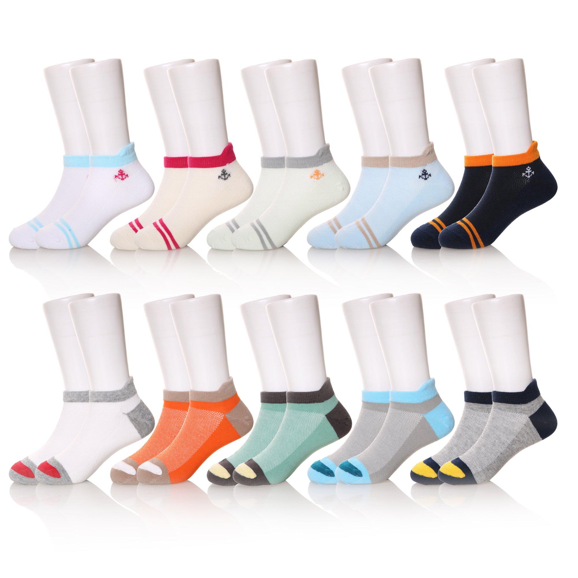 10 Pairs Boys' Low Cut Athletic Socks (10 Pairs, 1-3 Years)