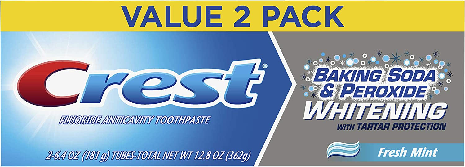 Crest Baking Soda & Peroxide Whitening w/Tartar Protection Fresh Mint Toothpaste, 6.4oz (181g), 2count (Pack of 3)