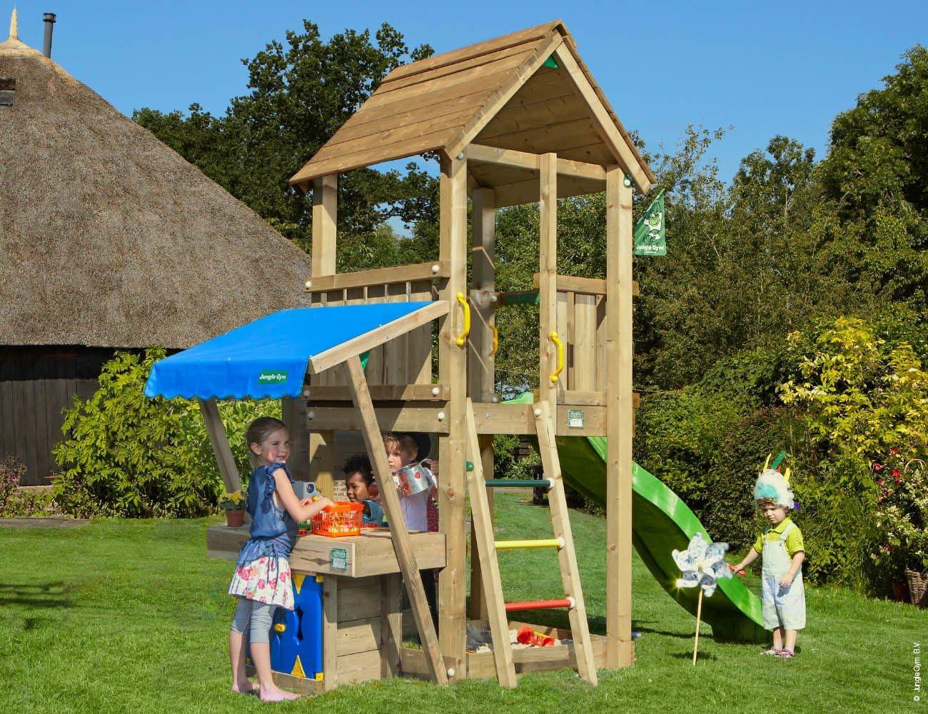 Jungle Gym Club Mini Market Verde Parques Infantiles de Madera para Jardin con Tobogan: Amazon.es: Juguetes y juegos
