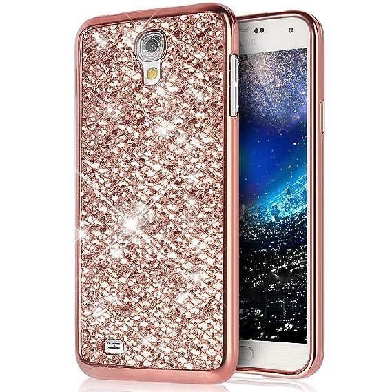 Kompatibel mit Galaxy S4 Mini Hülle Schutzhülle,Glänzend Glitzer Bling Diamant Weich Überzug TPU Bumper Hülle Tasche Metallic