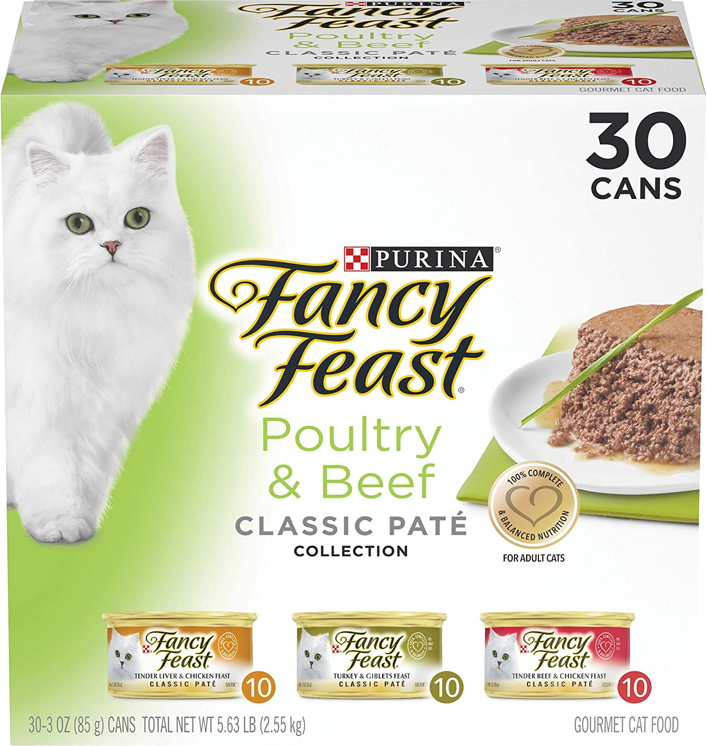 Purina Fancy Feast Grain Free Pate Wet Cat Food Variety Pack, Poultry & Beef Collection - (30) 3 oz. Cans
