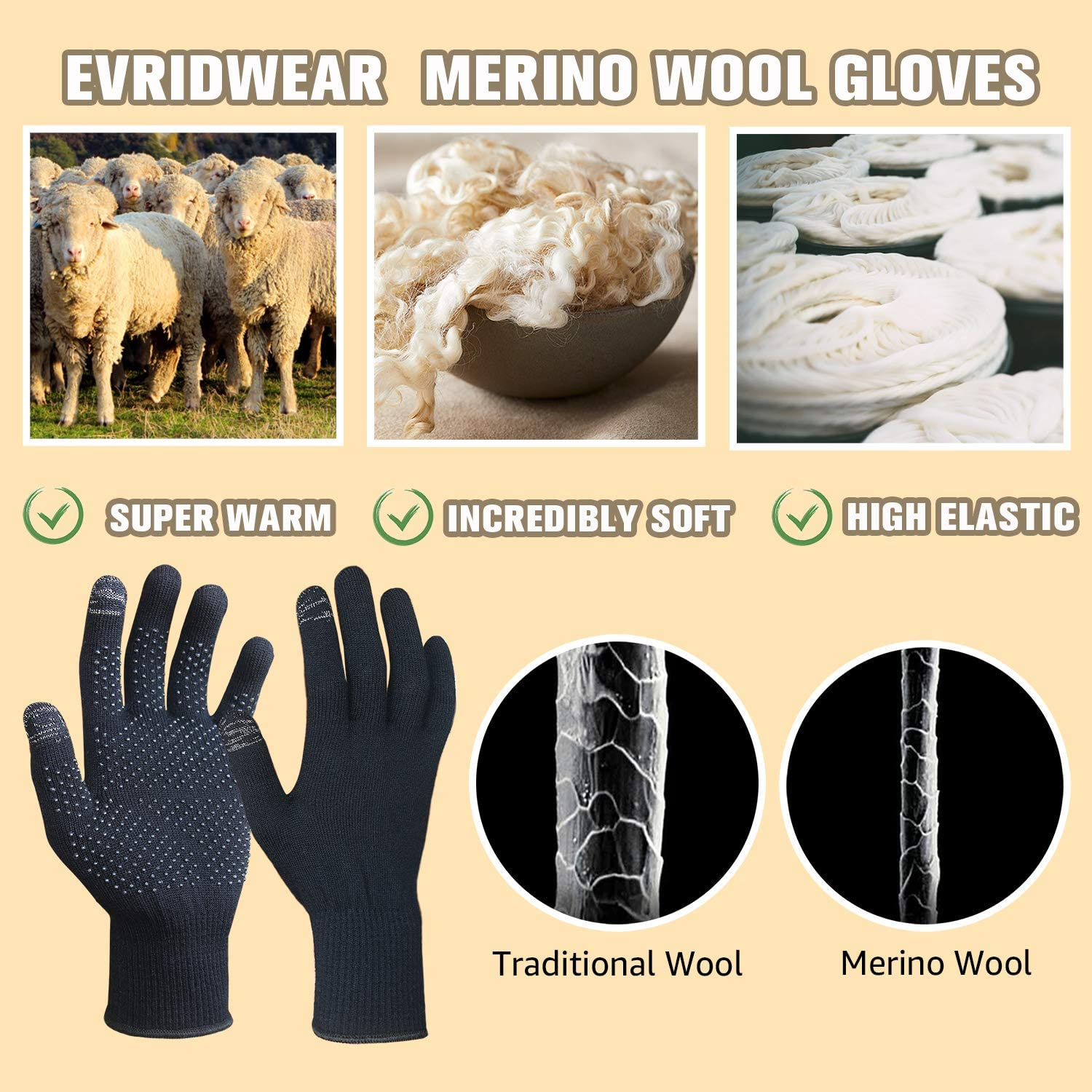 EvridWear Touchscreen Merino Wool Thermal Liner Gloves with PVC Dotted Grips
