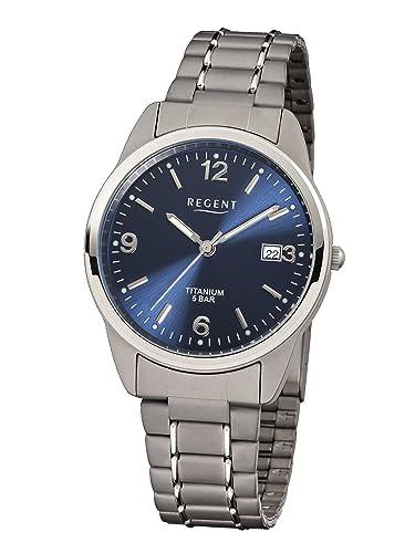 Regent 11090247 - Reloj analógico de cuarzo para hombre con correa de titanio, color gris: Amazon.es: Relojes