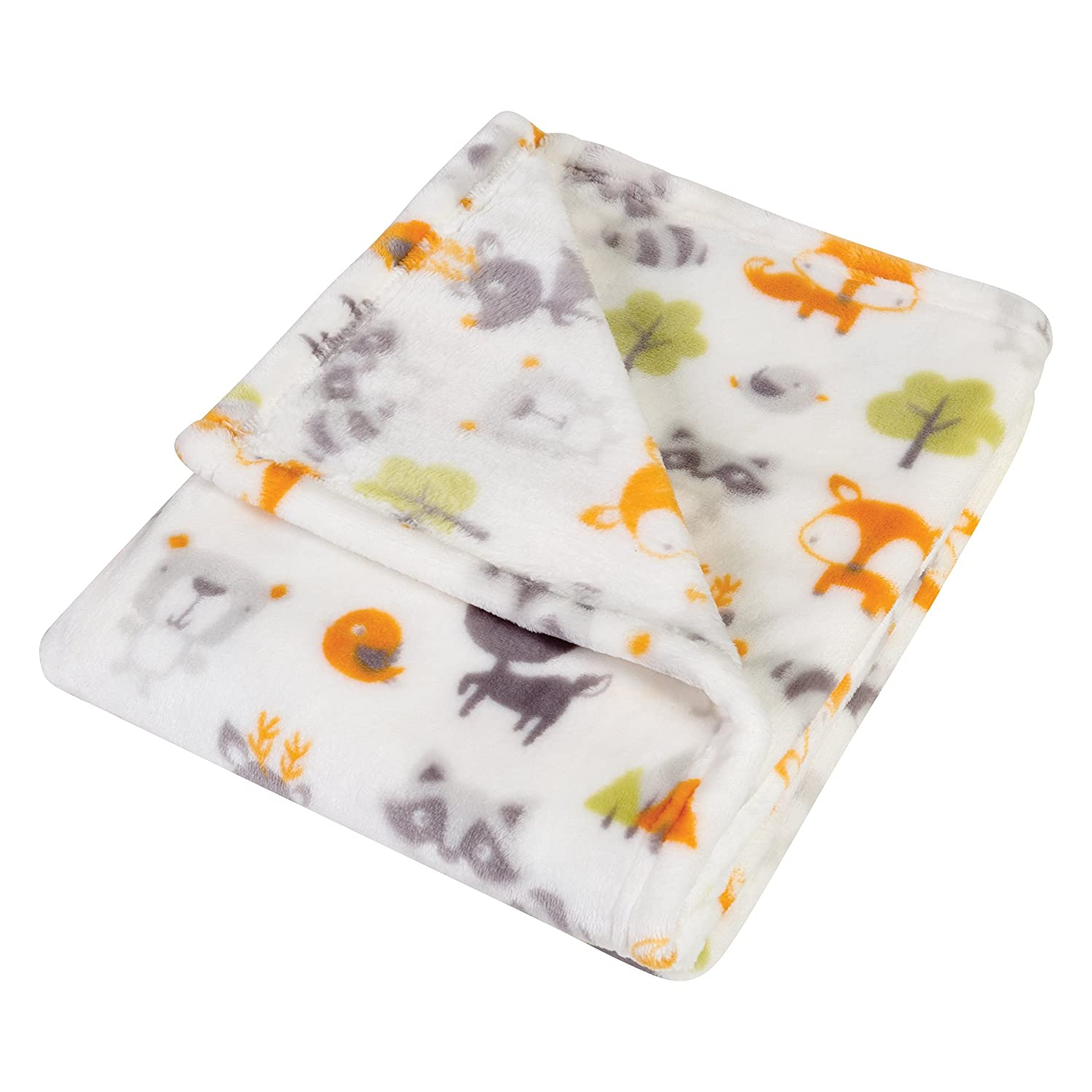 Trend Lab Plush Baby Blanket, Gray Art Deco Lions Scallop 102877