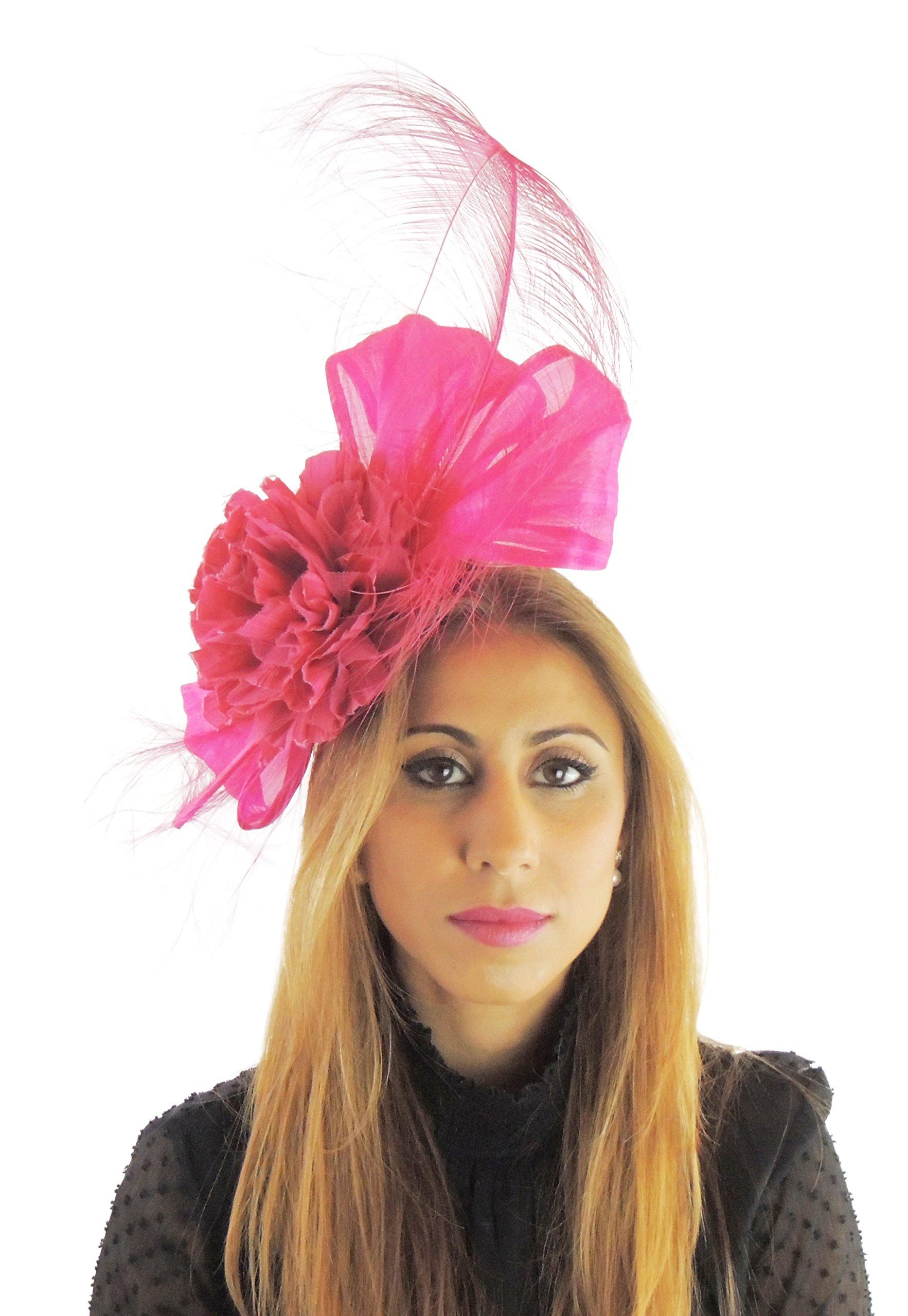 Hats By Cressida Silk Sinamay & Silk Flower Elegant Ladies Ascot Wedding Fascinator Fuchsia