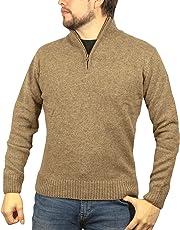 Jacksmith 100% Shetland Wool Half Zip Up Knit Jumper Pullover Mens Knitted Sweater