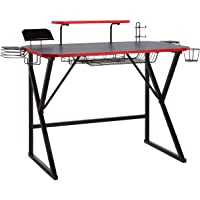 Amazon Basics Gaming Computer Desk with Storage (Red)