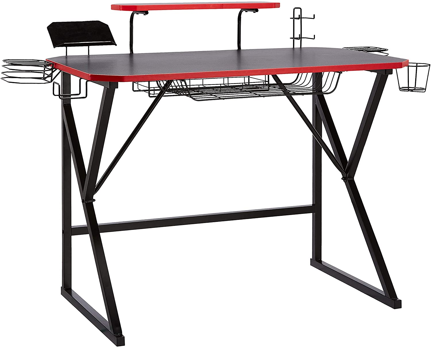 Amazon Basics Gaming Computer Desk with Storage for Controller, Headphone & Speaker – Red
