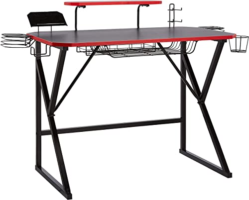 AmazonBasics Gaming Computer Desk with Storage for Controller, Headphone Speaker – Red