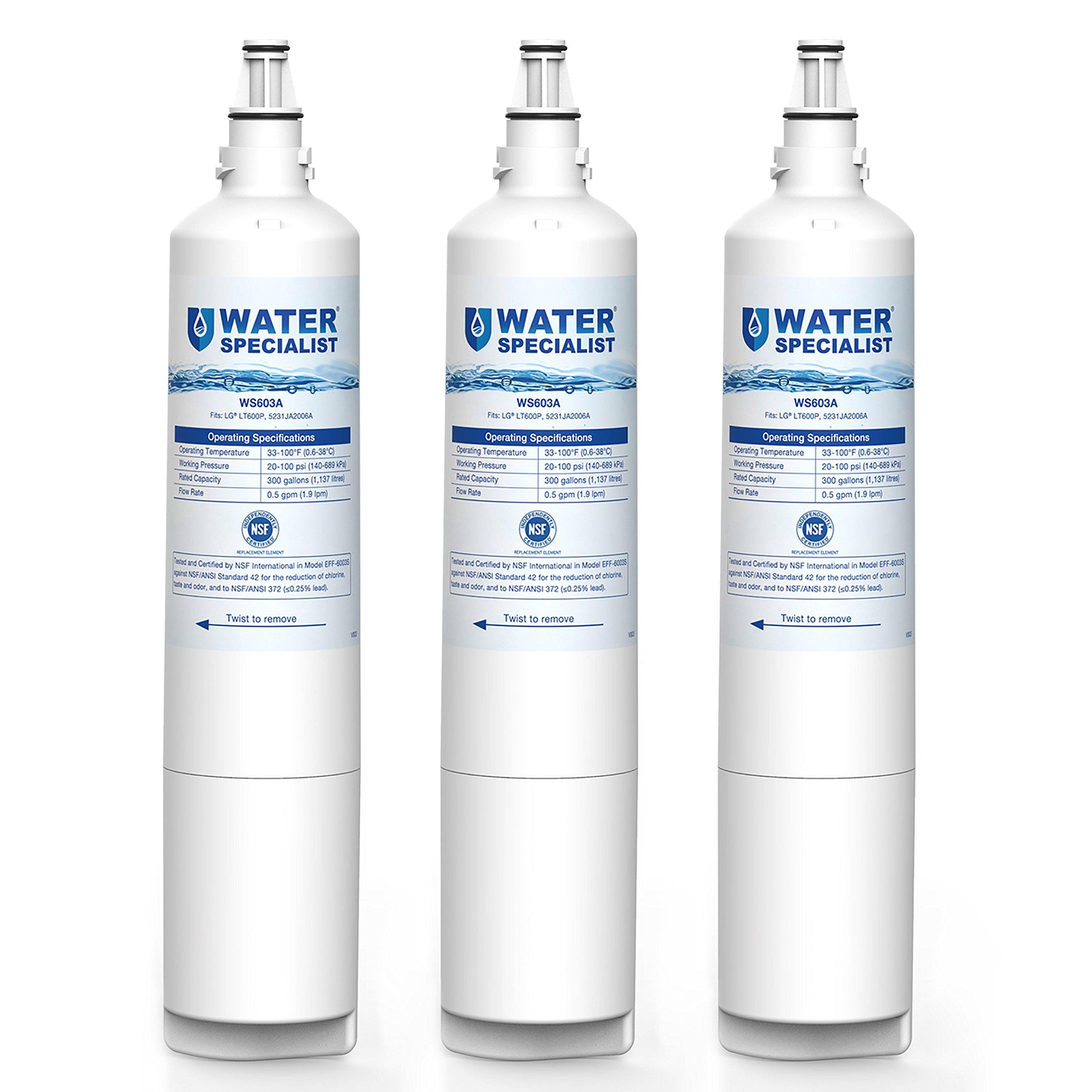 Waterspecialist LT600P Replacement Refrigerator Water Filter, Compatible with LG LT600P, 5231JA2006, 5231JA2006A, 5231JA2006B, Kenmore 469990, 46-9990 5231JA2006F R-9990 5231JA2006E LFX25961AL, 3 Pack