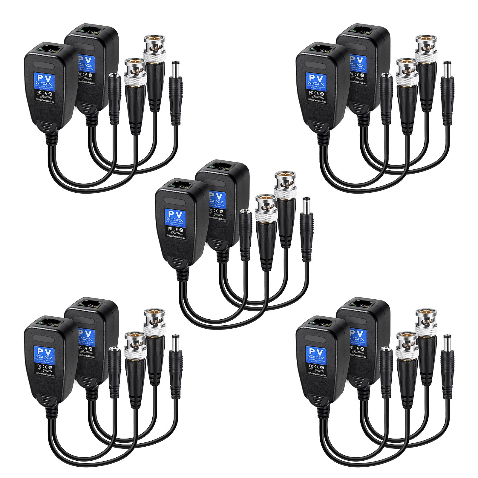 Passive Video Balun RJ45 Transceiver Transmitter HD-CVI/TVI/AHD/CVBS with DC Built-in Transient Suppression Protection for 720P/960P/1080P/2MP CCTV Security DVR Surveillance Camera System 5 Pairs by eoere