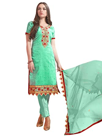 c993d65901 Stylee Lifestyle Green Chanderi Silk Embroidered Dress Material: Amazon.in:  Clothing & Accessories