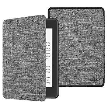 Fintie SlimShell Funda para Kindle Paperwhite (10.ª generación, 2018) - Carcasa Fina y Ligera de Tela con Función de Auto-Reposo/Activación, Tela Gris ...