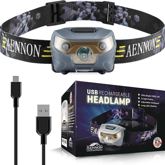 YUJISO Lampe Frontale Super Puissante Lampe Torche USB Rechargeable avec 7 LEDs IPX4 /Étanche Lampe Frontale L/éger pour P/êche Camping Cyclisme Randonn/ée Lecture