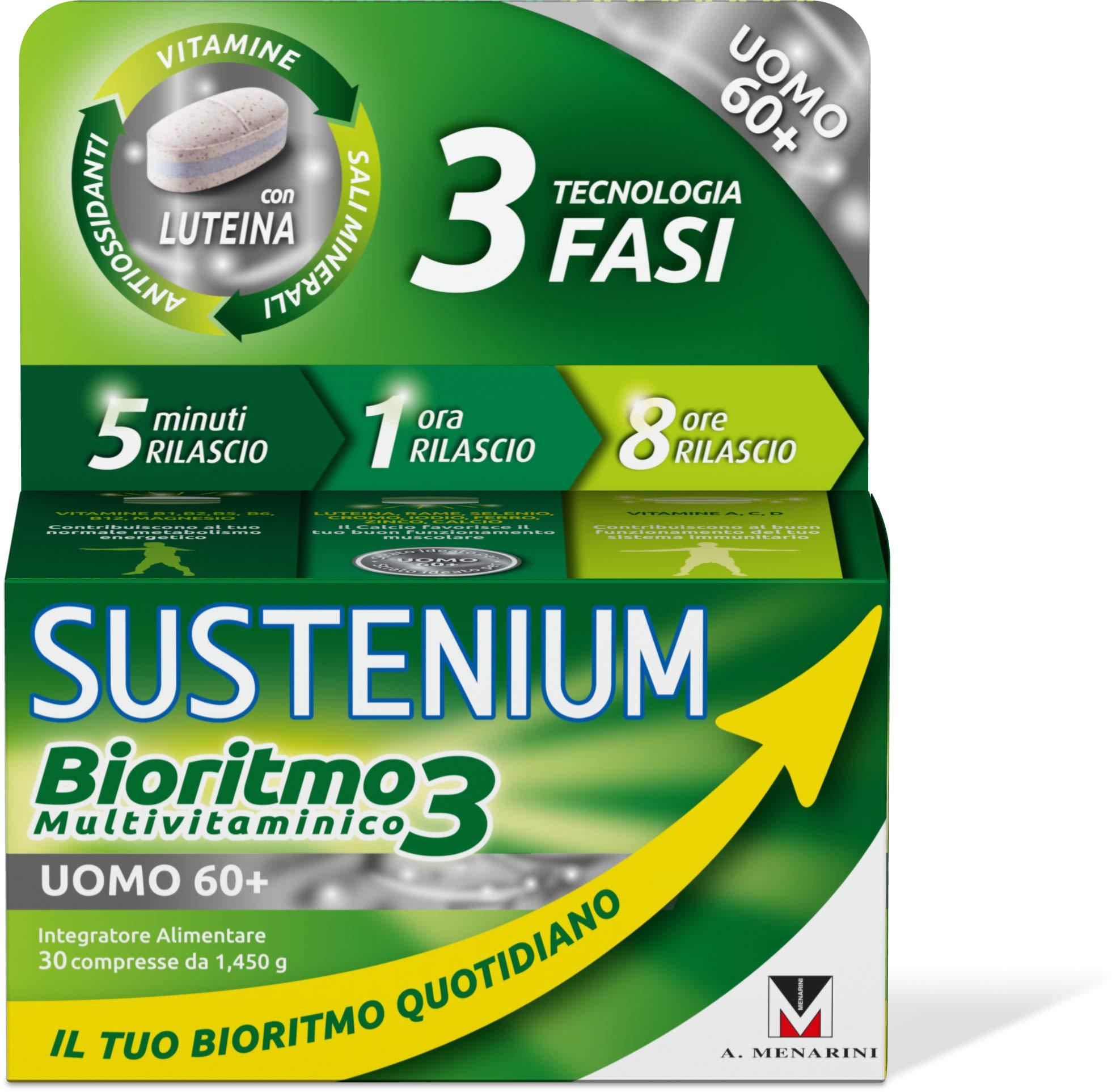 Sustenium Bioritmo3 Uomo 60+ Integratore Multivitaminico, 30 compresse
