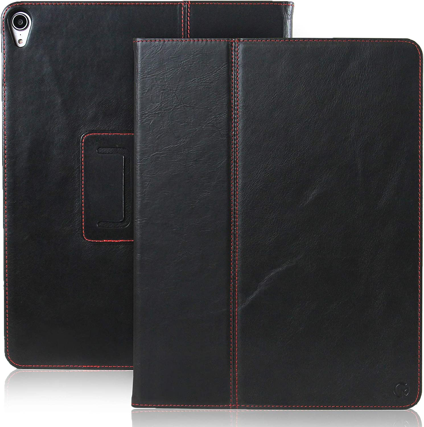 CASEMADE iPad Pro 12.9 inch Real Leather Case (3rd Generation 2018) - Premium Luxury Italian Slim Cover/Smart Folio with Dual Stand and Auto Sleep/Wake (Black)