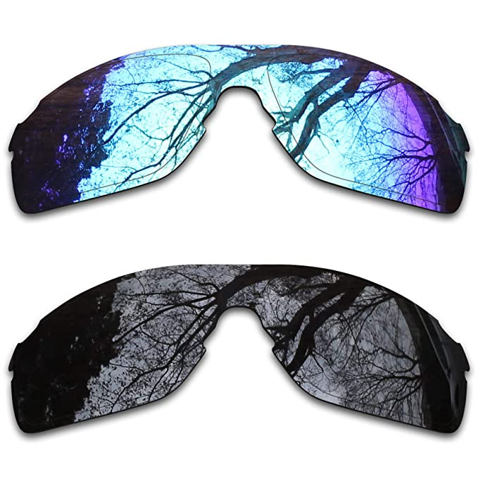 175fad3560 Image Unavailable. Image not available for. Color  2 Pair Polarized Lens  Replacement for Oakley EVZero Pitch Black Ice Blue