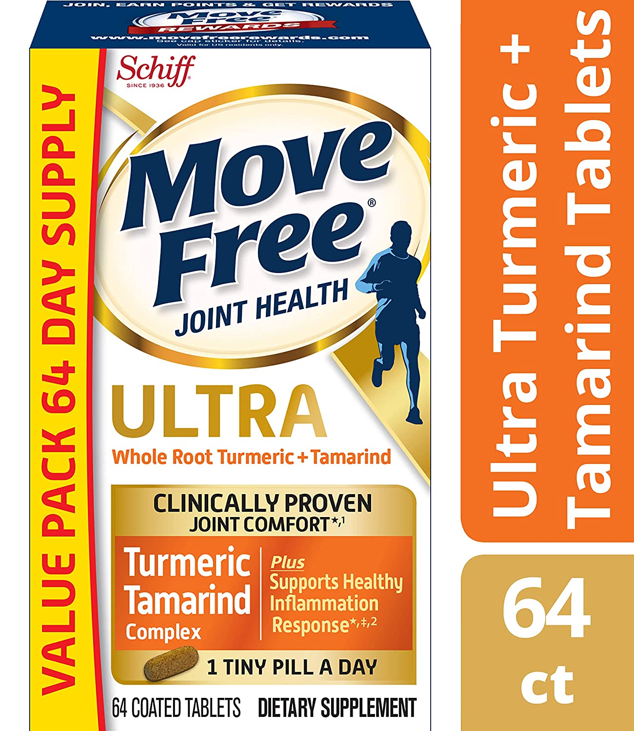 Turmeric Tamarind Ultra Joint Health Supplement, Move Free 64 count , Clinically Proven Joint Comfort In 1 Tiny Pill A Day